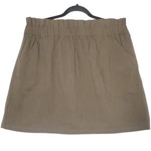 SHEIN Lightweight Paperbag Waist Olive Skirt 1X
